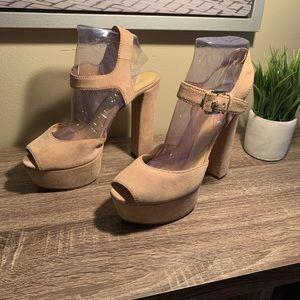 MK Suede Chunky Heel